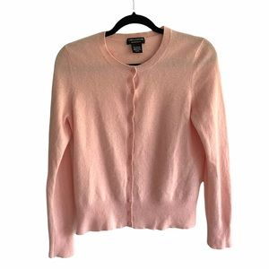 LORD & TAYLOR Cashmere Cardigan Sweater Pink S/M